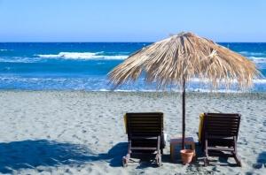Wicker umbrella on the beach
